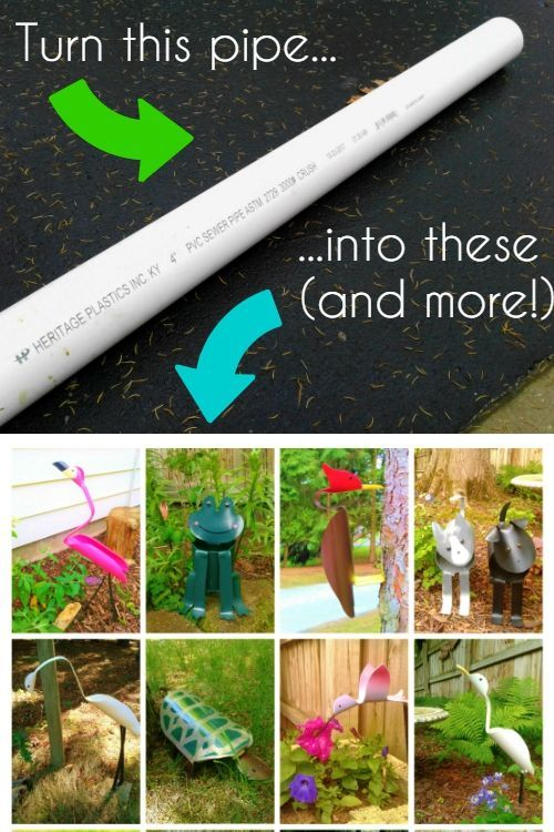 Turn a PVC pipe into adorable and unique garden and yard art