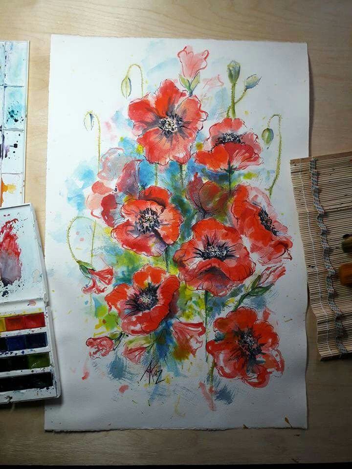 Watercolor poppies.