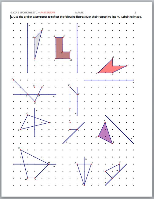 Write a sequence of transformations that maps quadrilateral angles