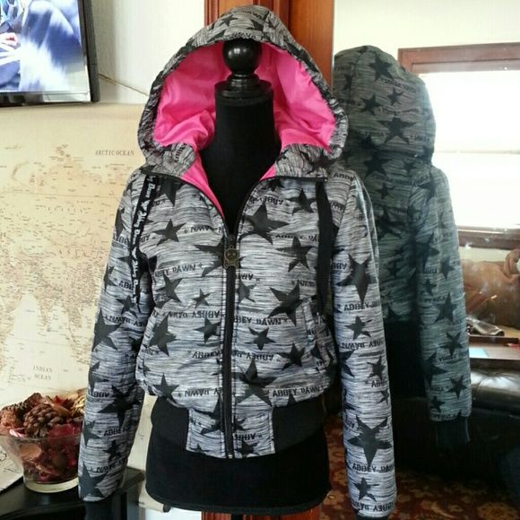 Skater jacket. Abbey Dawn by Avril Levigne Black and hot link stars skater puffy coat. Medium. Perfect condition, never worn? EUC Abbey Dawn Jackets & Coats Puffers