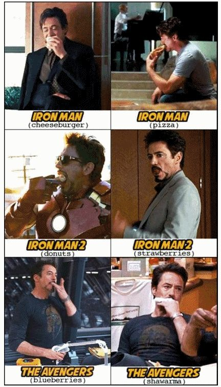 Fun fact: Most of the time RDJ eats in the movies it's not part of the script. Also in The Avengers, he offers blueberries to Banner... That wasn't in the script either! XD