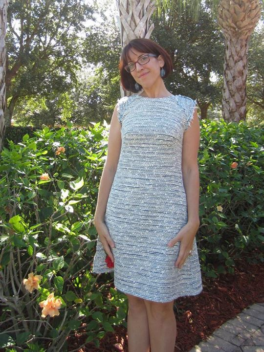Rebecca's quilted tweed Francoise dress
