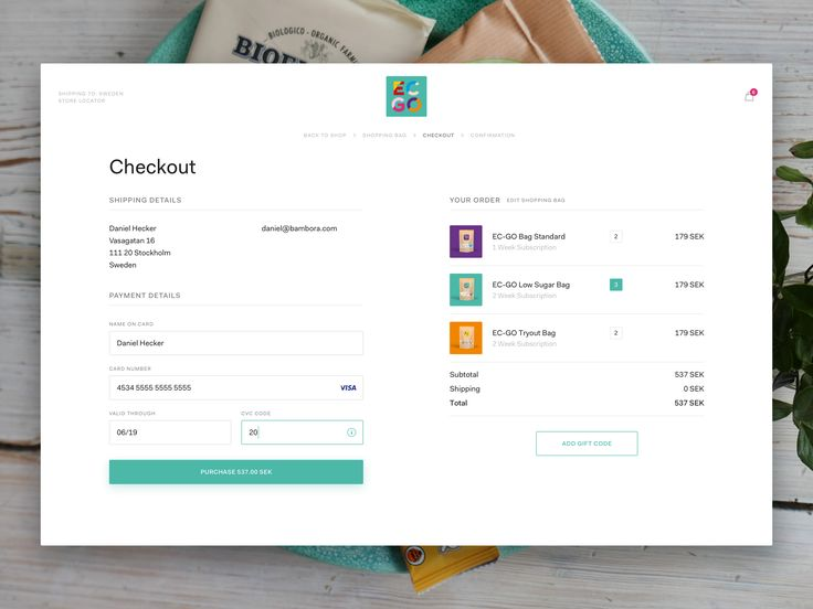 Checkout Form by Mattias Johansson
