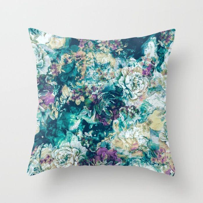 Frozen Flowers Throw #Pillow #floral #frozen #homedecor #art
