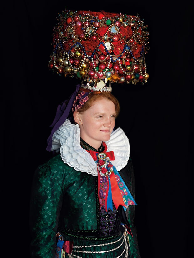 Traditional costume for a wedding in St. Georgen (Germany). Photo by Gregor Hohenberg