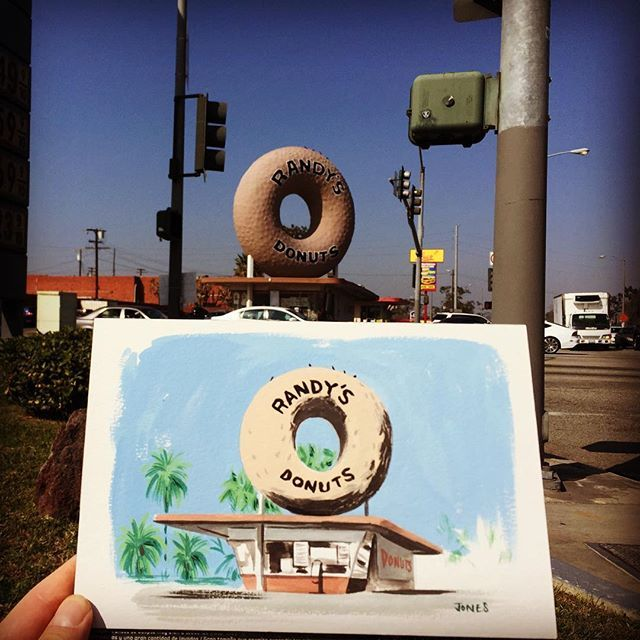 Instagram media by matt_jonesart - 'Randy's Donuts' inspired by the movie 'Dope' I had to come paint @randys_donuts #randysdonuts #inglewood #losangeles #architecture #gouache #paintsketch #painting #mattjones #art #diner #artistsoninstagram #california #donut