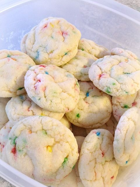 funfetti cookies ~  1 funfetti cake mix, 1 egg, 1/4 cup vegetable oil, 1/4 cup water, Just under 1/4 cup flour- 350 degrees for 8 minutes