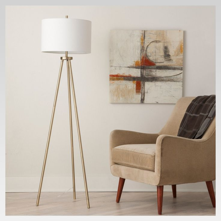 Tripod floor lamp antique brass includes cfl bulb project 62 brown