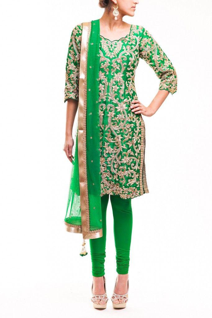 Bright Green Salwar Kameez in Pure Brocade