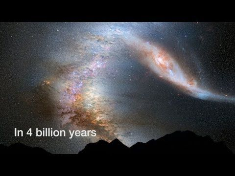 Milky Way Versus Andromeda As Seen from Earth. From HubbleCast. Scientists have been using Hubble observations to predict the future of the Andromeda Galaxy and the Milky Way, and how the collision will look from Earth. Projecting the motion of Andromeda's stars over the next 8 billion years, the astronomers now know the path that galaxy is taking through space.