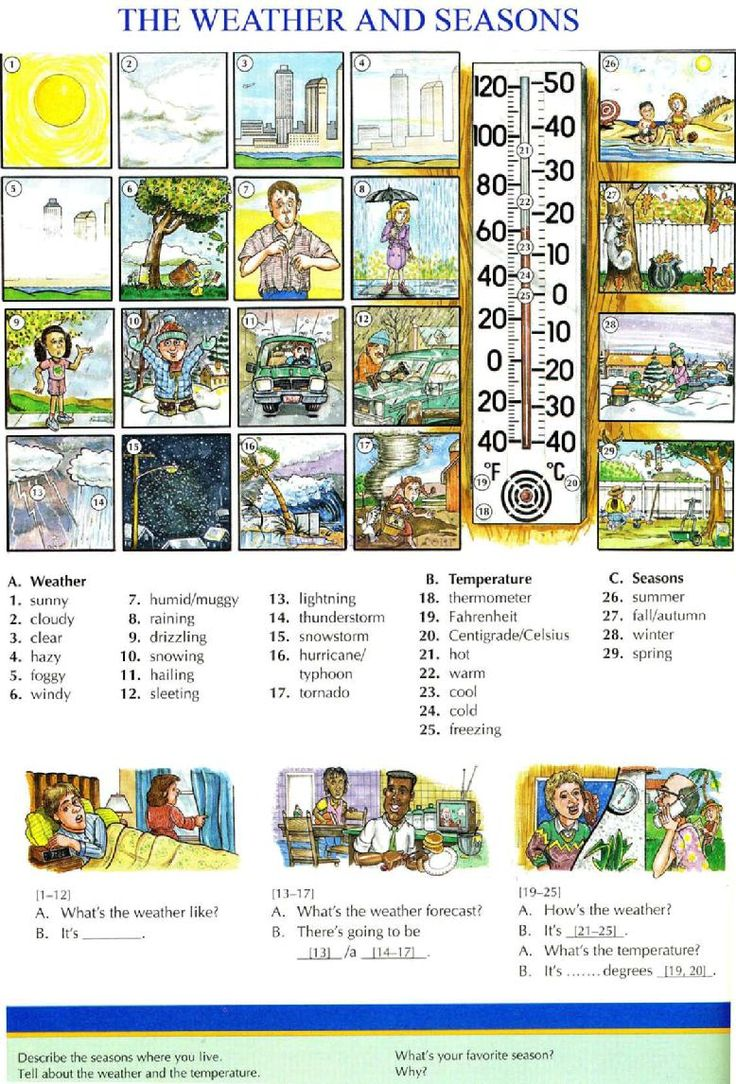 94 - THE WEATHER AND SEASONS - Pictures dictionary - English Study, explanations, free exercises, speaking, listening, grammar lessons, reading, writing, vocabulary, dictionary and teaching materials