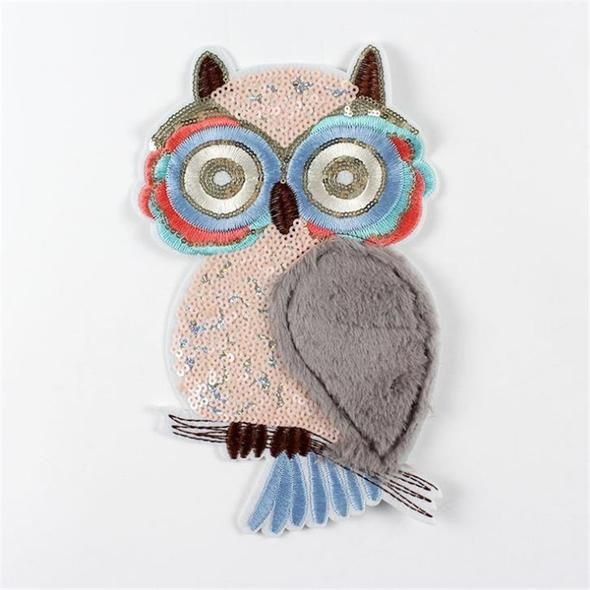 Sequined Owl Sew on Clothing Bag Patch Applique for Sewing Embroidery