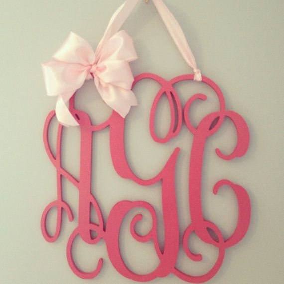 Pink wooden monogram//nursery decor