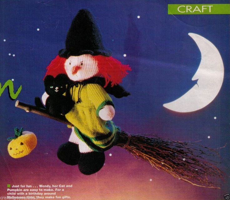 HALLOWEEN 'WENDY THE WITCH' (37.5CMS) & PUMPKIN & CAT TOYS 8PLY KNITTING PATTERN