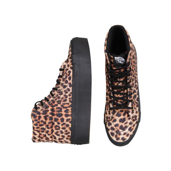 Vans Sk8-Hi Platform - Leopard (11170 DZD) ❤ liked on Polyvore featuring shoes, sneakers, leopard print shoes, vans trainers, leopard print platform shoes, vans footwear and vans sneakers