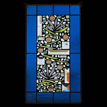 Edel Byrne Turquoise Border Floral Stained Glass Panel, Artistic Artisan Designer Window Panels
