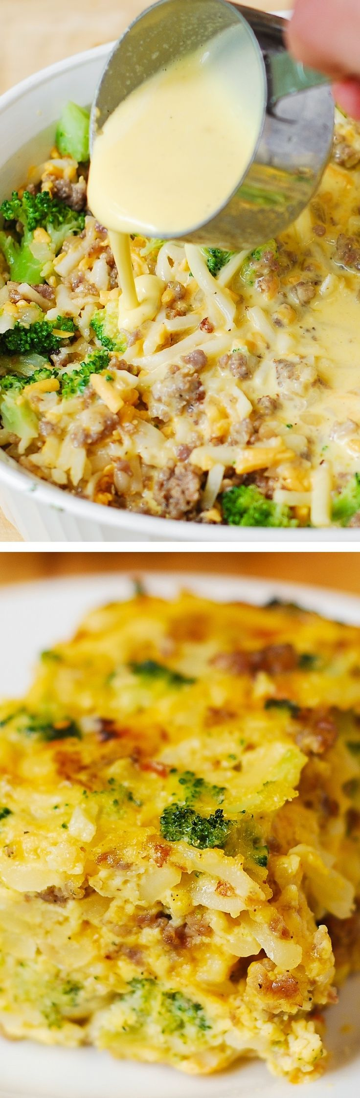 Breakfast Casserole with shredded hash brown potatoes, broccoli, cheddar cheese, sausage and eggs. (Breakfast Bake)