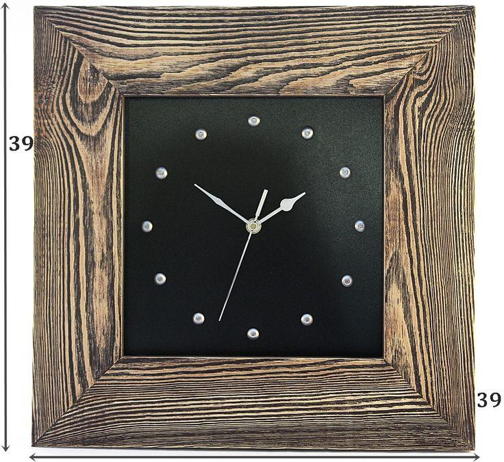 Zegar w starej ramie Rustikal Han Made. Postarzana, głeboko szczotkowana rama w brązowej przecierce