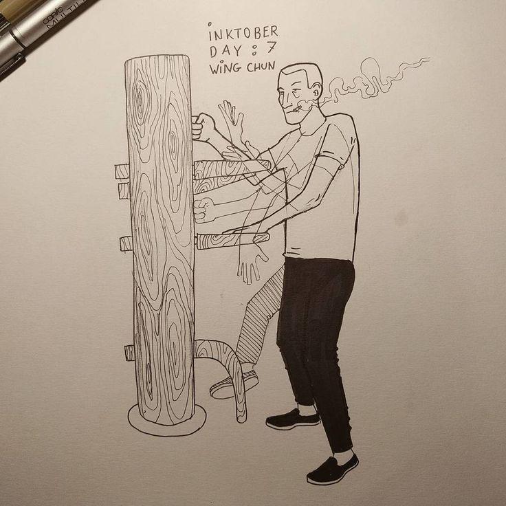 #inktober day 7: wing chun. #inktober2016 #wingchun #kungfu #martialarts #ipman #art #illustration #drawing #doodle