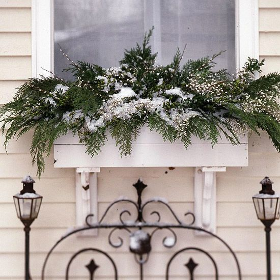 Christmas Window Dressing  Fill window boxes with cedar and boxwood boughs, green hypericum berries, and sprigs of baby's breath stuck into a dry block of florist's foam. Protected from direct sun and weather extremes, cut greens can survive throughout the season.   ~ *You can also go to Michael's and pick up some wintry sprays*