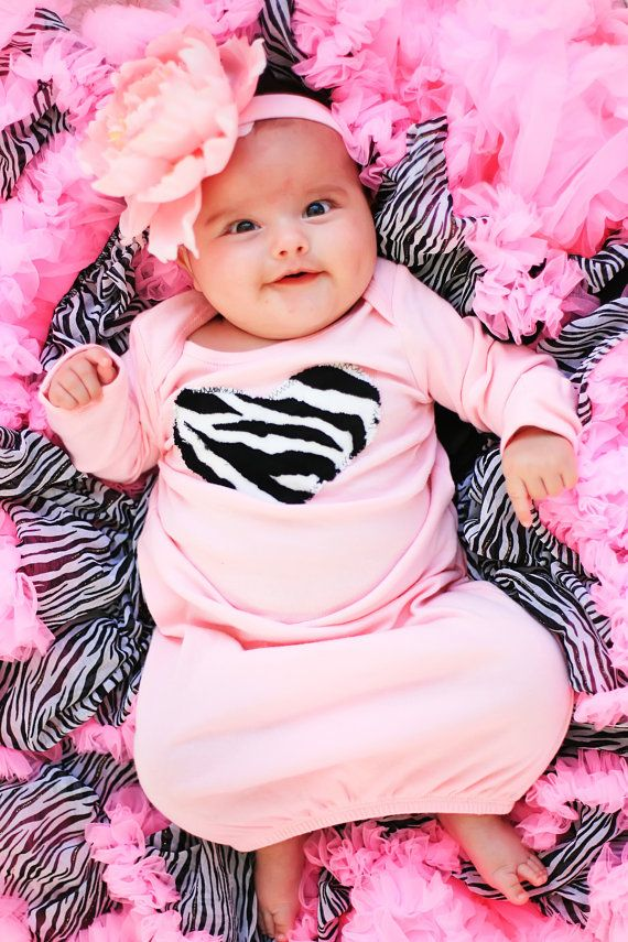 Light Pink Zebra Heart Newborn Baby Gown by glam R baby I LOVE my Glam R Baby stuff!!!!!! She is amazing!