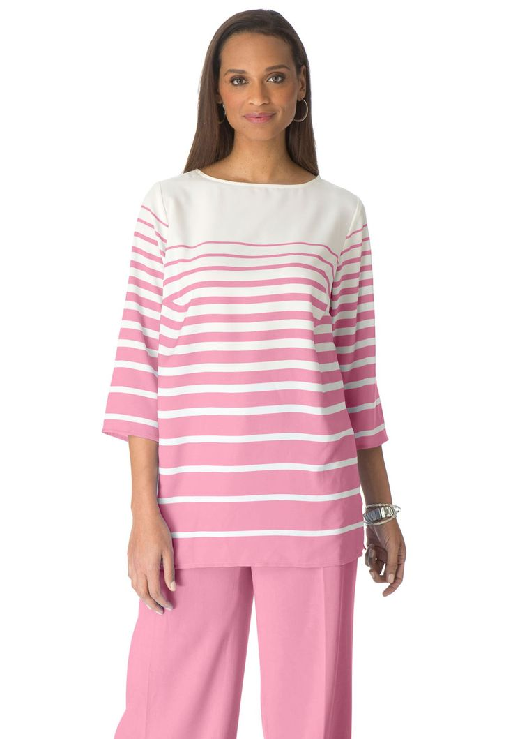 A boatneck tunic top in smooth crepe perfect for your work & weekend. #plussize #pastels