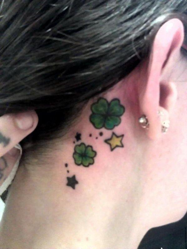 Shamrocks and Stars Ear Tattoo - Cute Four Leaf Clover Tattoos, http://hative.com/cute-four-leaf-clover-tattoos/,