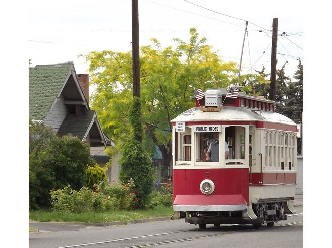 Trolley wanders through Old Residential Area in Yakima, Washington