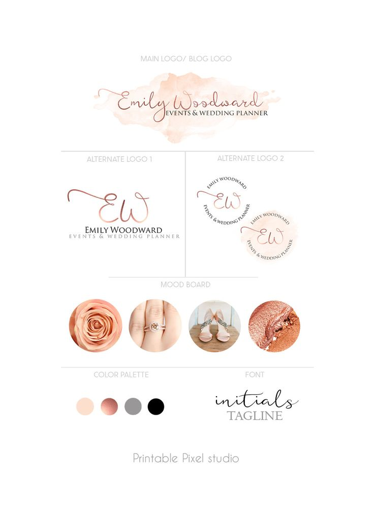 Branding package - Logo Package - Rose gold Logo - Wedding planner Logo - Blog Logo - Logo set - Peach pink logo - For any business by PrintablePixel on Etsy