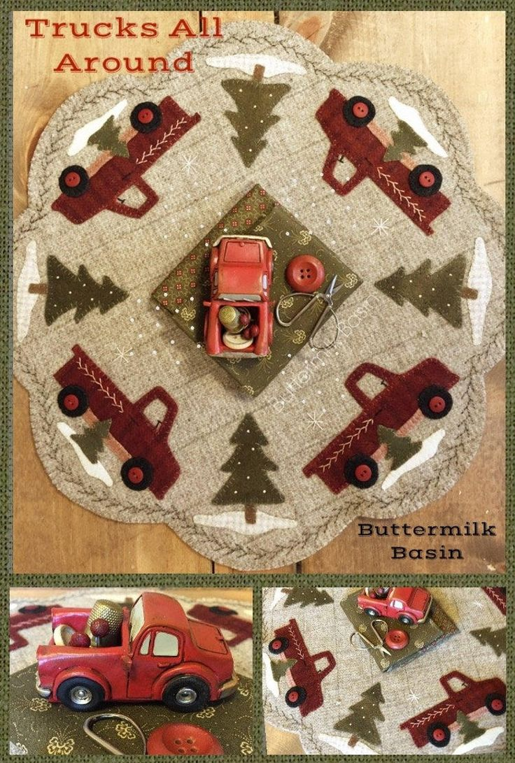 Wool Applique Pattern, Red Truck Wool Candle Mat Pattern