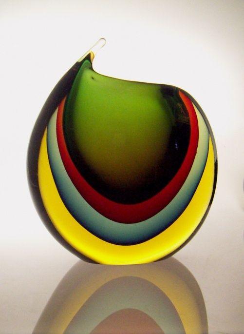 Sold: Signed Luigi Onesto Sommerso Murano vase