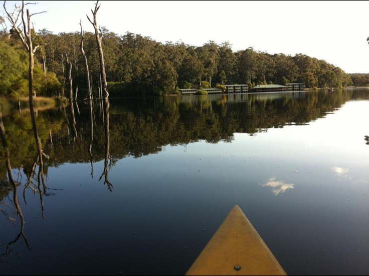 View of karri valley resort from canoe Western Australia