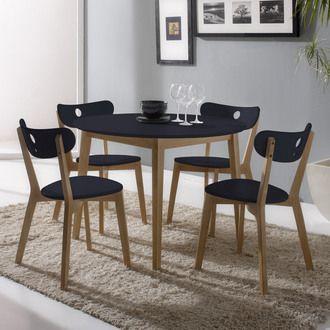 Ensemble table de salle � manger ronde diam�tre 100cm et 4 chaises en bois  HIDA