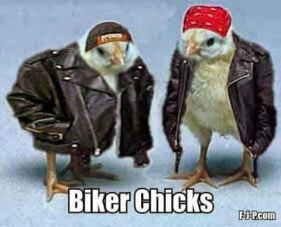 Hilarious two chicks dressed up as bikers