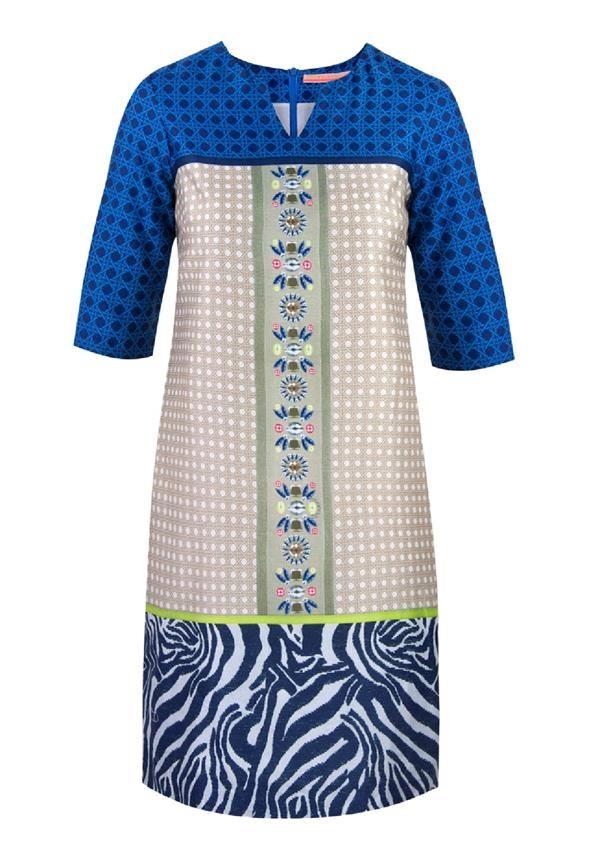 Vilagallo Luana Zebra Print Panel Cropped Sleeve Tunic Dress, Multi-Coloured | McElhinneys Department Store