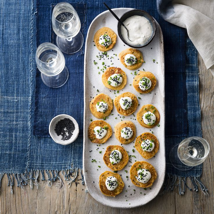 "Thermomix | Sweet potato blini with cumin and sesame creme fraiche | Entertaining with Dani Valent cookbook + recipe chip | ""Party"" menu plan 
