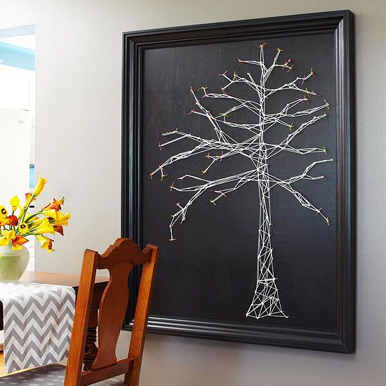 DIY String Artwork... To make this tree-motif string art piece, coat a piece of plywood with black interior latex paint. Sketch a tree lightly in pencil....