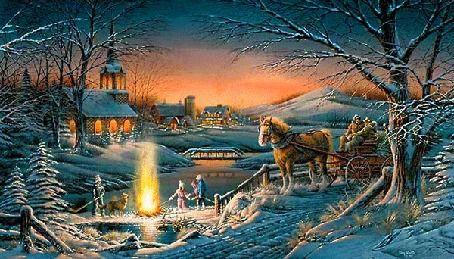 Дети у костра в зимнюю ночь