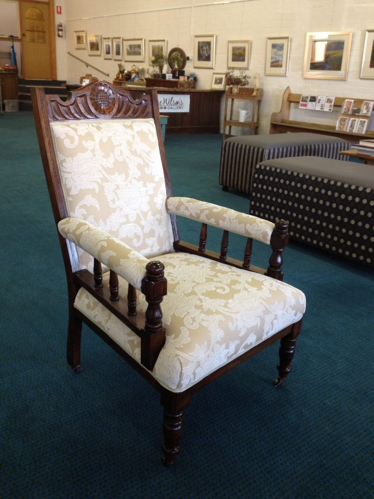 Just covered these antique gentle men's chairs in a lovely light fabric to complement the dark timber.