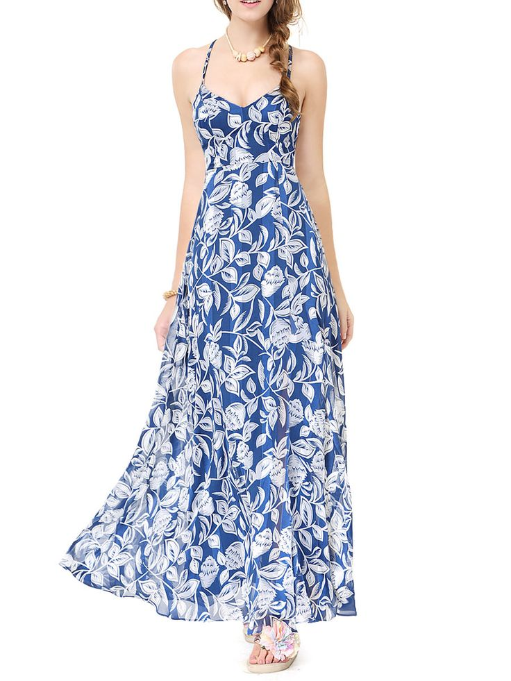 #AdoreWe #StyleWe Designer Maxi Dresses - Designer CICI WANG Blue Strappy Back Leaves Printed Sweetheart Maxi Dress - AdoreWe.com
