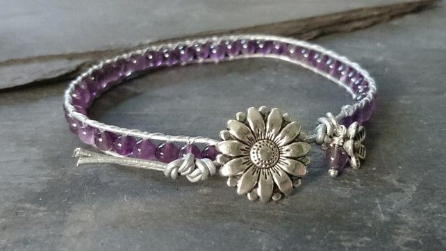 Metallic leather and amethyst bead bracelet, February birthstone £12.00