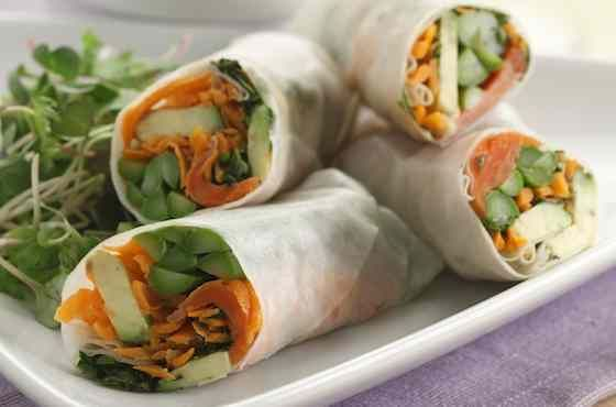 Asparagus and Salmon Spring Rolls Recipe | recipes. | Pinterest