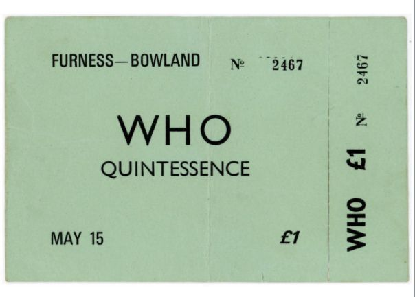 The Who 1970 Lancaster University  Concert Ticket (UK) Note the price of this way back when in support of both the Tommy and Live At Leeds albums.