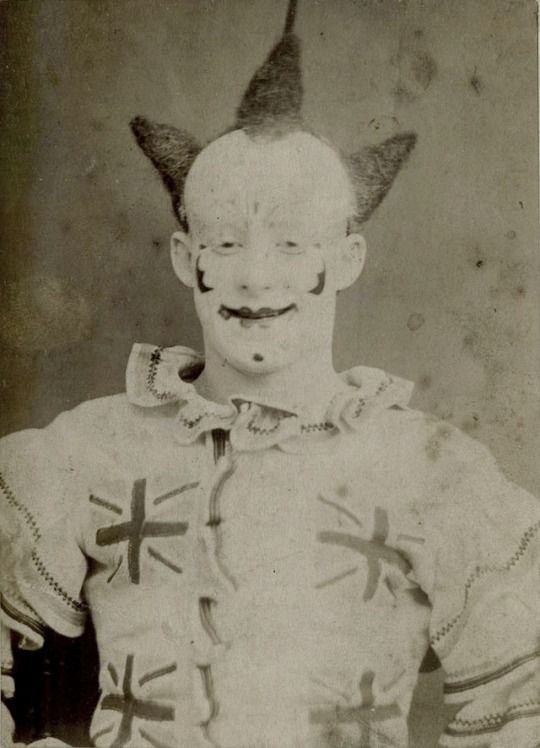 Scary clown costume. Great Britain, 1870s.