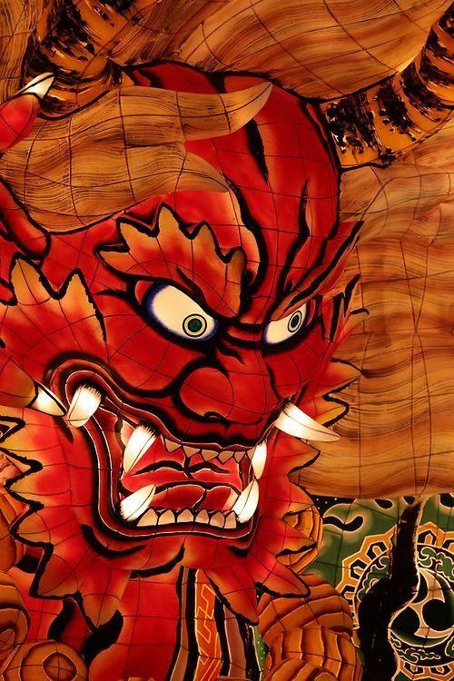 Close-up of a big inner-lit float of Nebuta Festival, Japan