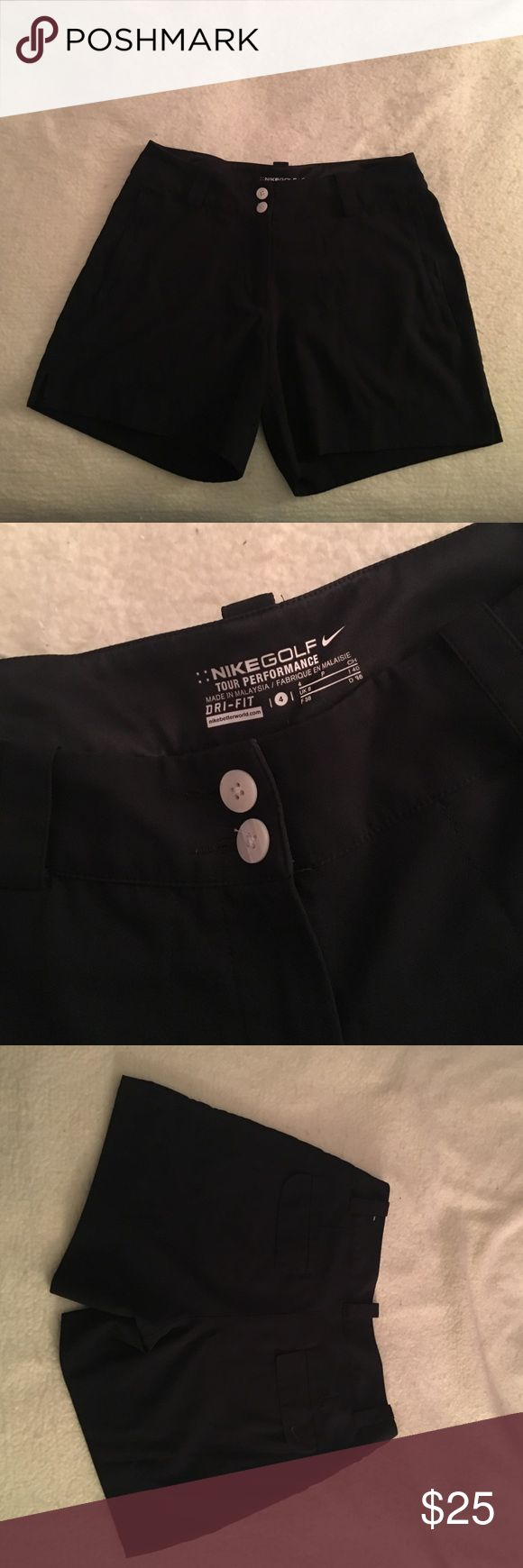 Black Nike Golf Shorts Black Nike Women's Golf Shorts - Zippered Pockets on Front -Double Buttons -Fold Over Pockets on Back - Belt Loops -Tour Performance -Dri-Fit  -LIKE NEW!! Also Available in Cream Color!! Both Sold Separately! Nike Shorts