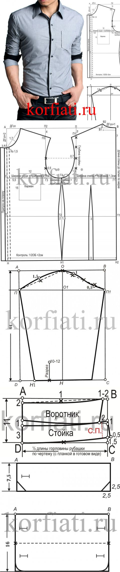 El patrón de la camisa de hombre entallada de A.Korfiati