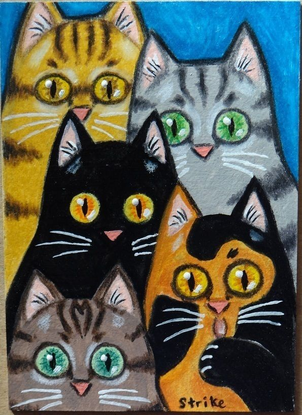 ACEO Miniature 5 Cats Staring Black Grey Ginger Tabby Calico Folk Art by STRIKE #Miniature