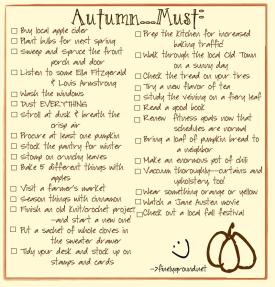 A new bucket list for Fall--some practical, some just fun. . .