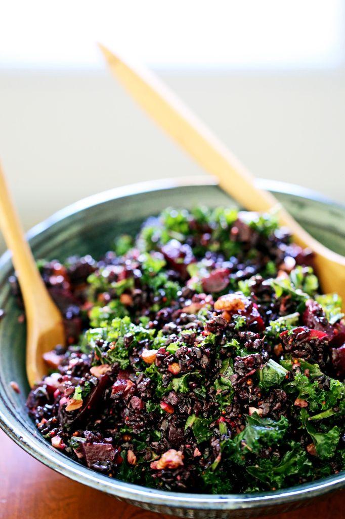 Black Rice, Beet & Kale Salad w/ Pecans & Cider Flax Dressing